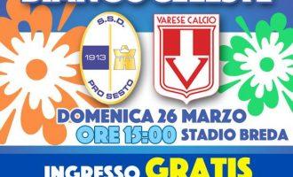 Pro Sesto vs Varese: domenica allo stadio Breda si entra gratis