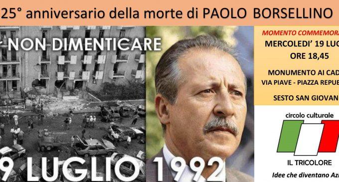 Sesto, commemorazione del 25esimo della morte di Paolo Borsellino