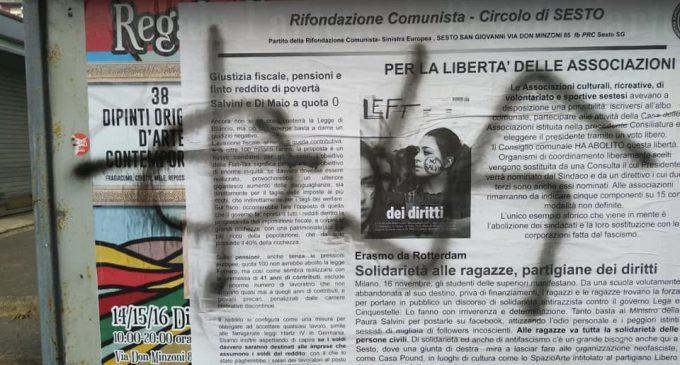 Sesto: svastiche sulla sede di Rifondazione Comunista